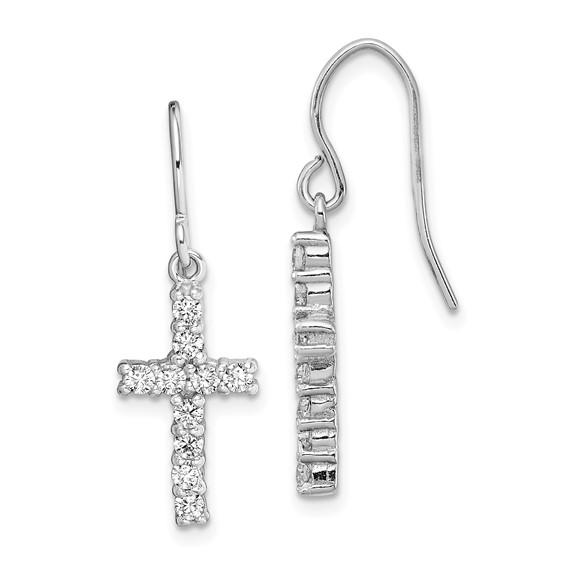 Sterling Silver 5/8in Cubic Zirconia Cross Earrings