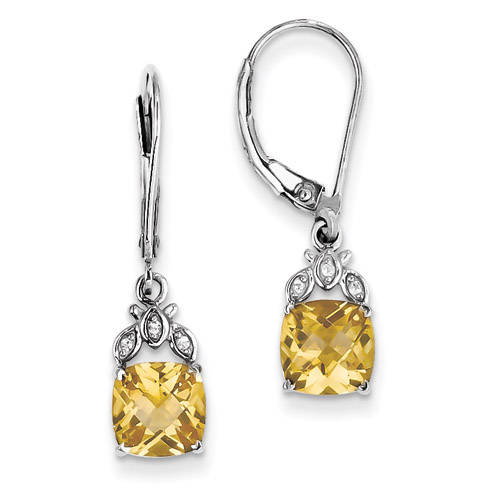 Sterling Silver Citrine and White Topaz Hinged Earrings