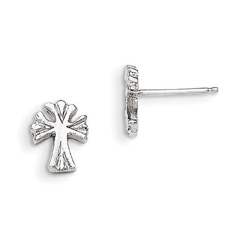 Sterling Silver Grooved Cross Mini Earrings