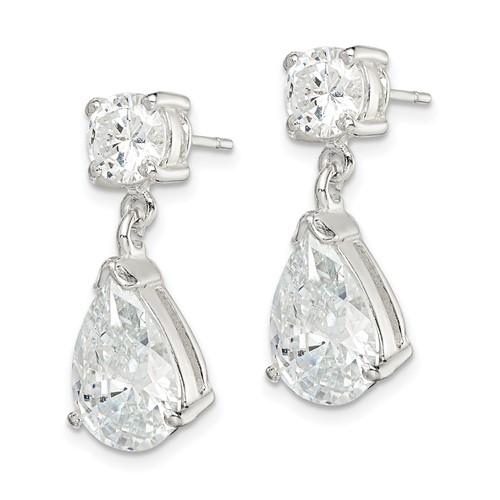 Sterling Silver CZ Pear Shaped Dangle Earrings