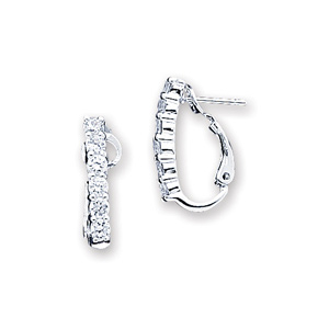 13/16in Sterling Silver CZ Earrings