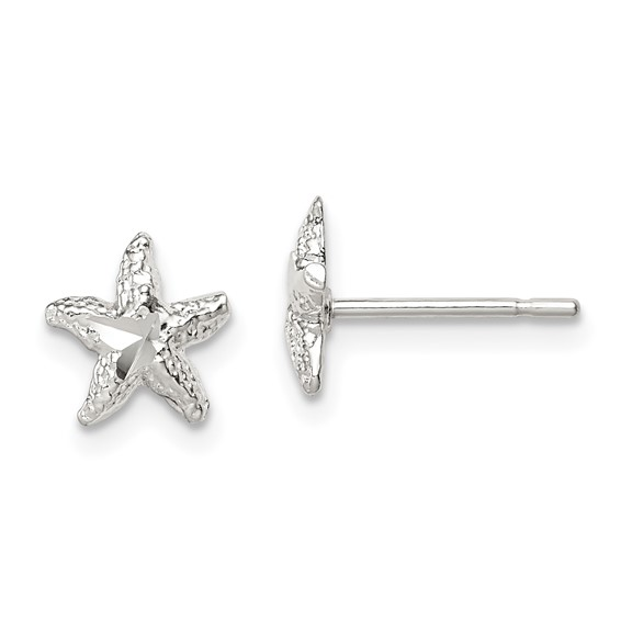 Sterling Silver 1/4in Mini Starfish Earrings