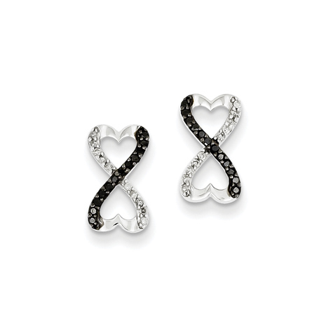 Sterling Silver 1/6 ct Black and White Diamond Heart Earrings