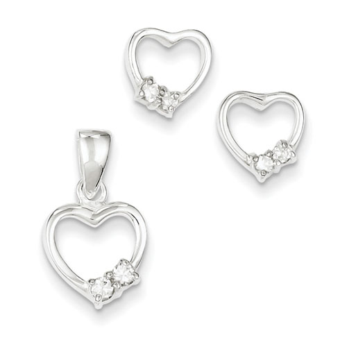 Sterling Silver Heart with CZ Earring & Pendant Set