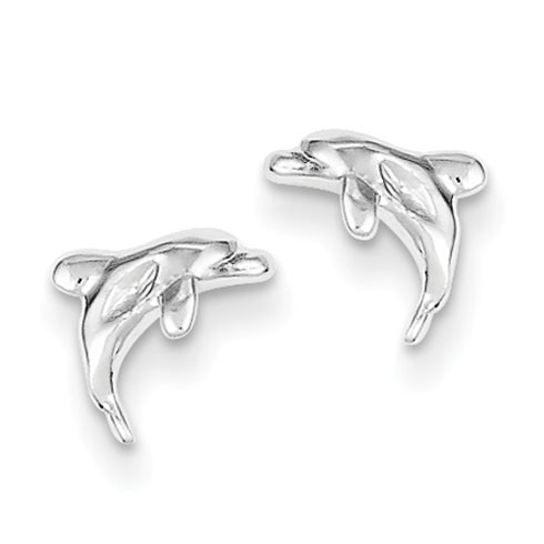 Sterling Silver 1/4in Dolphin Mini Post Earrings