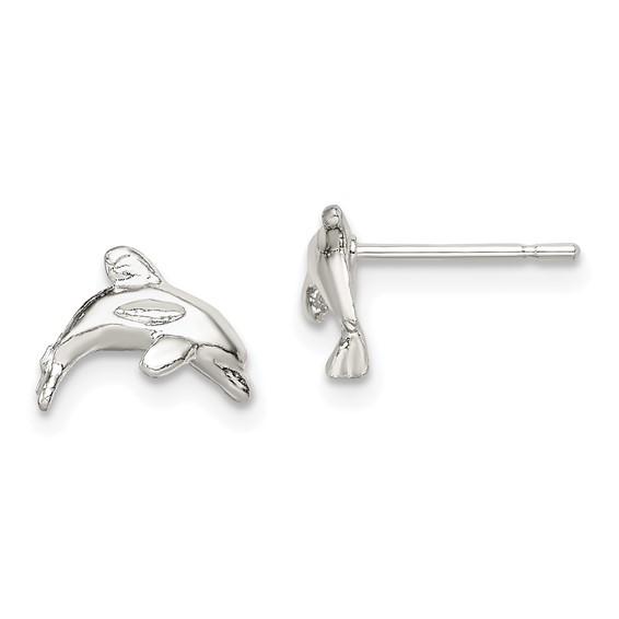 Sterling Silver 1/4in Dolphin Mini Post Earrings