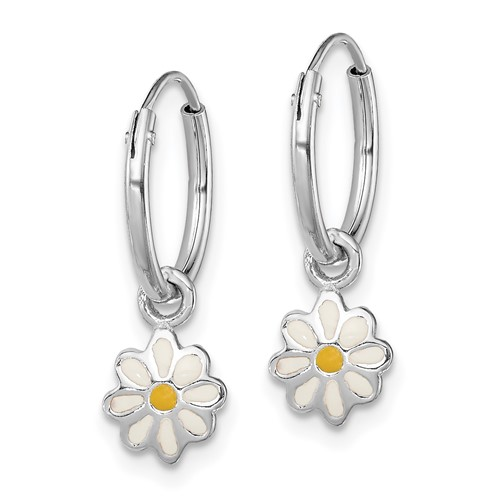 Rhodium-plated Sterling Silver Child's Enameled Daisy Hinged Hoop Earrings