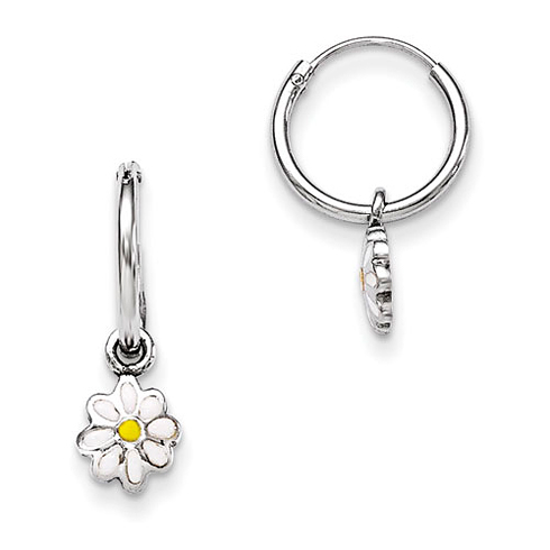 Sterling Silver Child's Enameled Daisy Hinged Hoop Earrings