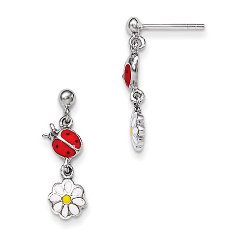 Rhodium-plated Sterling Silver Child's Enameled Ladybug & Daisy Earrings