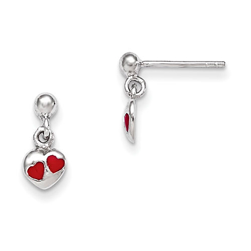 Rhodium-plated Sterling Silver Child's Red Enamel Heart Dangle Earrings