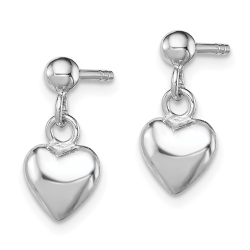 Rhodium-plated Sterling Silver Child's Heart Post Dangle Earrings