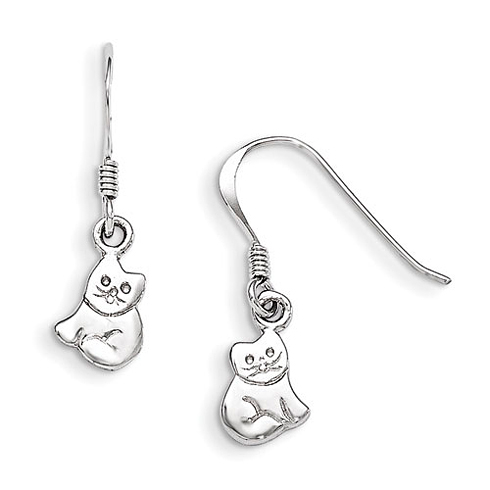 Rhodium-plated Sterling Silver Child's Cat Dangle Earrings