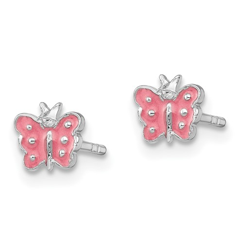 Rhodium Plated Sterling Silver Child's Pink Enameled Butterfly Earrings