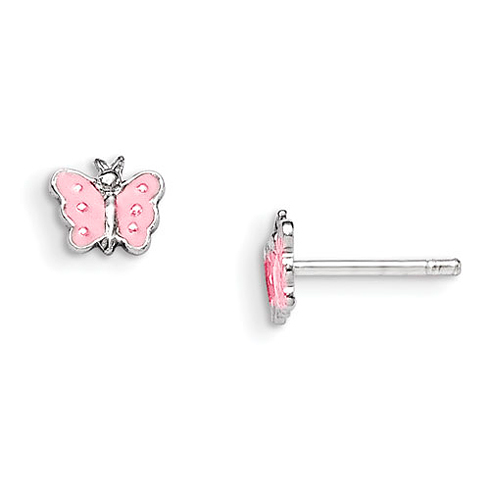 Sterling Silver Child's Pink Enameled Butterfly Earrings