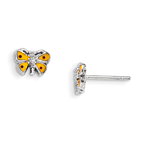 Rhodium Plated Sterling Silver Child's Yellow Enameled Butterfly Earrings