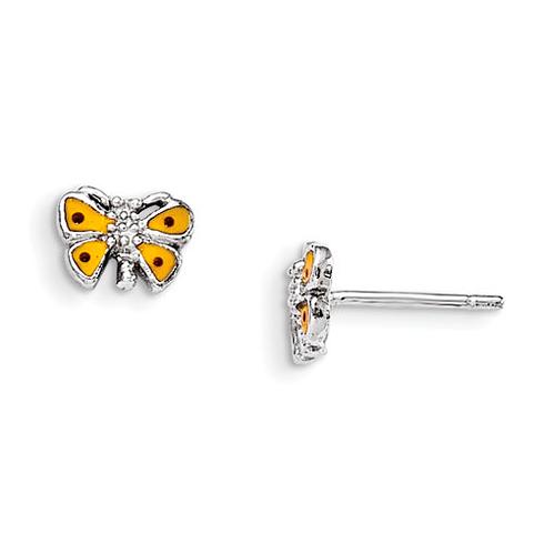 Sterling Silver Child's Yellow Enameled Butterfly Earrings