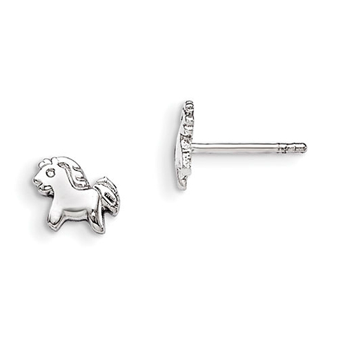 Rhodium-plated Sterling Silver Child's Pony Post Earrings