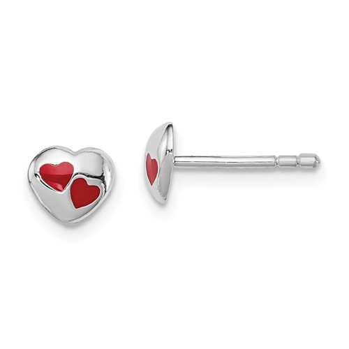 Rhodium-plated Sterling Silver Child's Red Enameled Heart Post Earrings