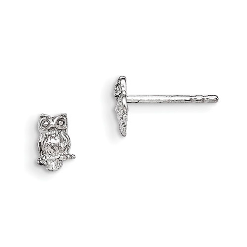 Sterling Silver Child's Polished Owl Post Earrings