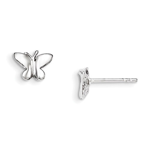 Rhodium Plated Sterling Silver Child's Polished Butterfly Post Earrings