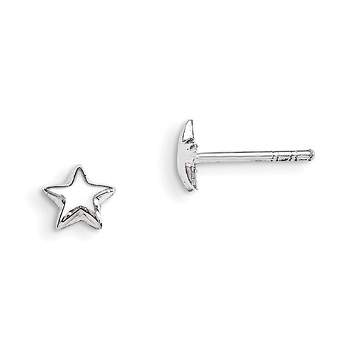 Rhodium-plated Sterling Silver Child's Star Post Earrings