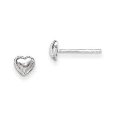 Rhodium-plated Sterling Silver Child's Heart Post Earrings