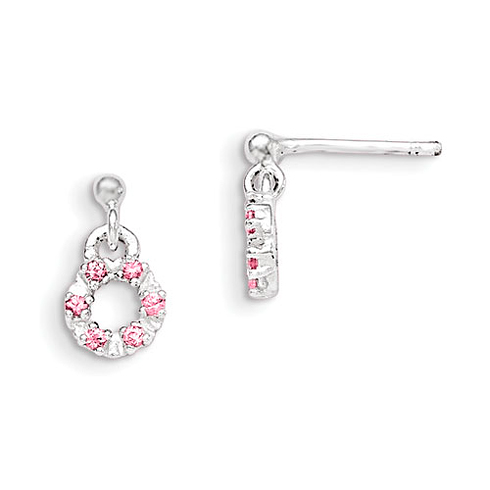 Sterling Silver Pink and White CZ Circle Kid's Post Dangle Earrings