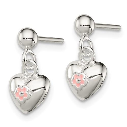 Sterling Silver Pink Enamel Kid's Heart Post Earrings