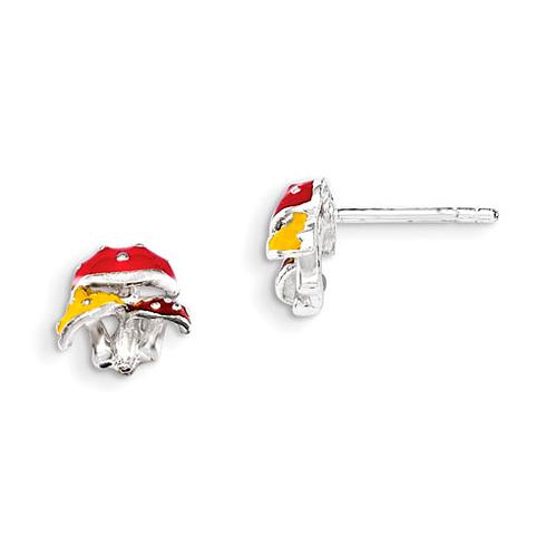Sterling Silver Enamel Kid's Mushroom Post Earrings