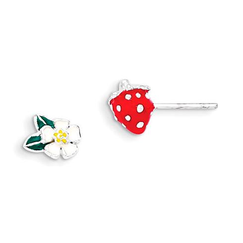Sterling Silver Enamel Kid's Flower and Strawberry Post Earrings