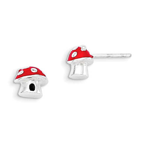 Sterling Silver Red Enamel Mushroom Post Earrings