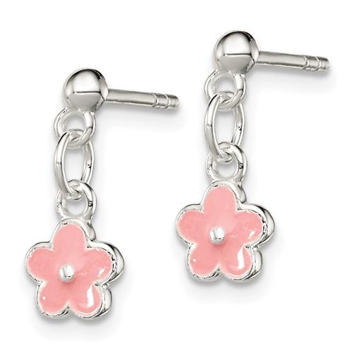 Sterling Silver Pink Enamel Kid's Flower Dangle Earrings