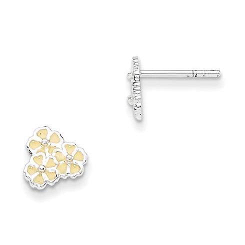 Sterling Silver Yellow Enamel Flower Kid's Post Earrings