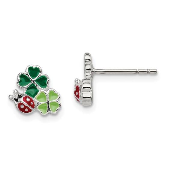 Sterling Silver Enamel Ladybug and Clovers Kid's Earrings