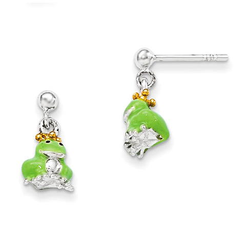 Sterling Silver Child's Gold-plated and Enameled Prince Frog Earrings