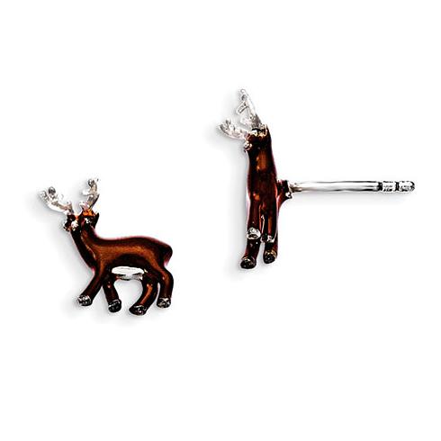 Sterling Silver Brown Enamel Deer Kid's Post Earrings