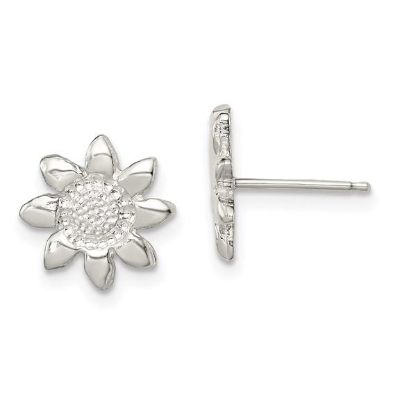Sterling Silver Polished Flower Mini Earrings