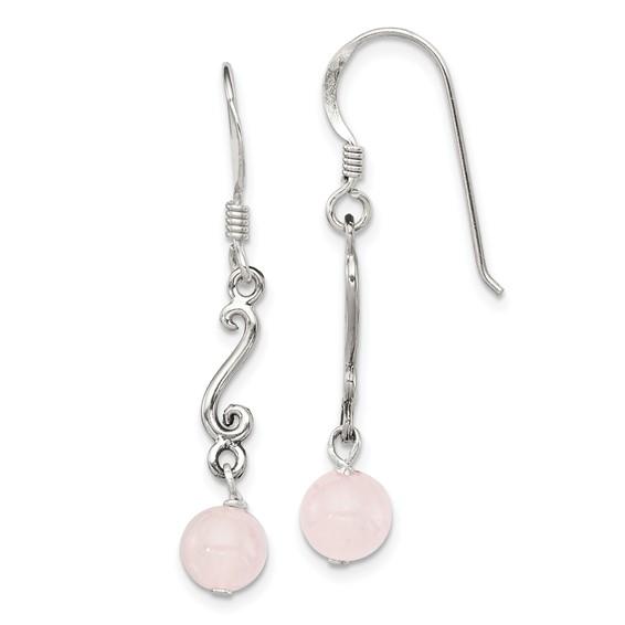 Sterling Silver Rose Quartz Antiqued Dangle Earrings