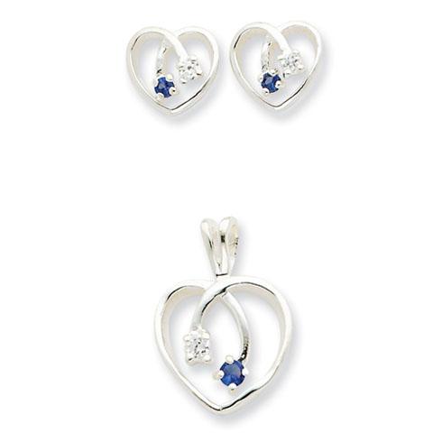 Sterling Silver Blue & Clear CZ Heart Earring & Pendant Set