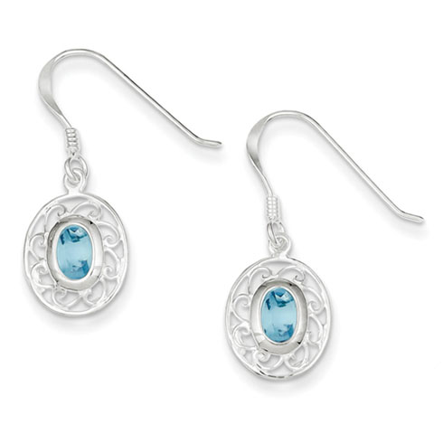 Fancy Dangle Blue Topaz Earrings - Sterling Silver
