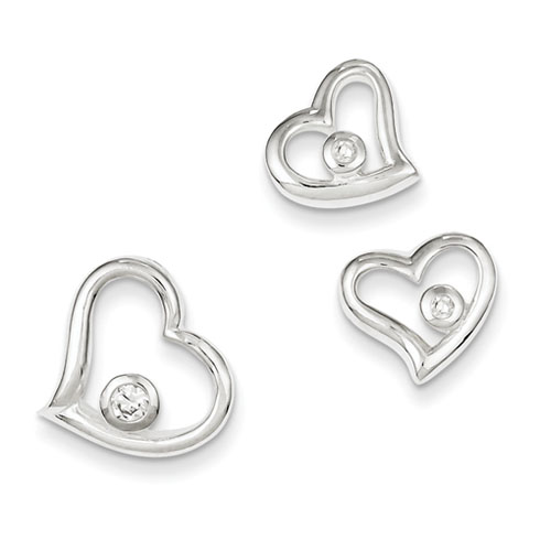 Sterling Silver Heart CZ Earrings & Pendant Set