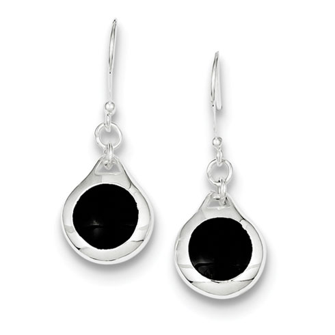 Sterling Silver Onyx Disk Earrings