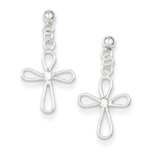 Sterling Silver Cubic Zirconia Rounded Cross Earrings