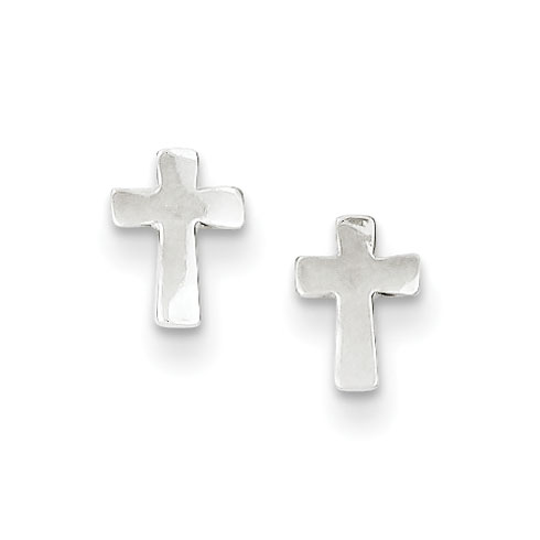 Sterling Silver 1/4in Smooth Cross Earrings