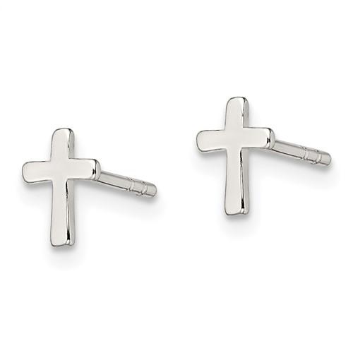 Sterling Silver 1/4in Smooth Cross Earrings