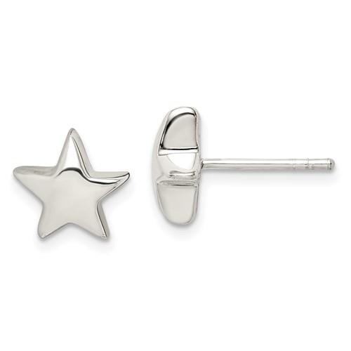 Sterling Silver Star Earrings 3/8in