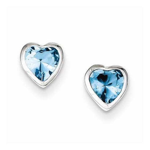 Sterling Silver Heart-shaped Light Blue Cubic Zirconia Earrings