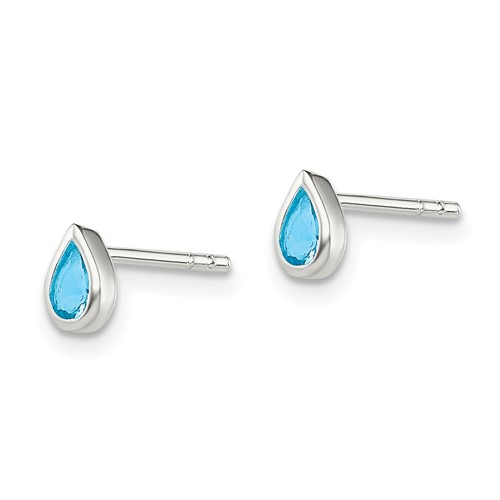 Sterling Silver Light Blue CZ Teardrop Earrings