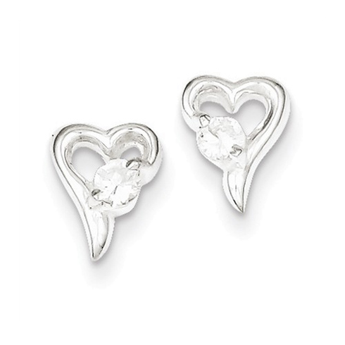Sterling Silver Hear Post Earrings with Cubic Zirconias