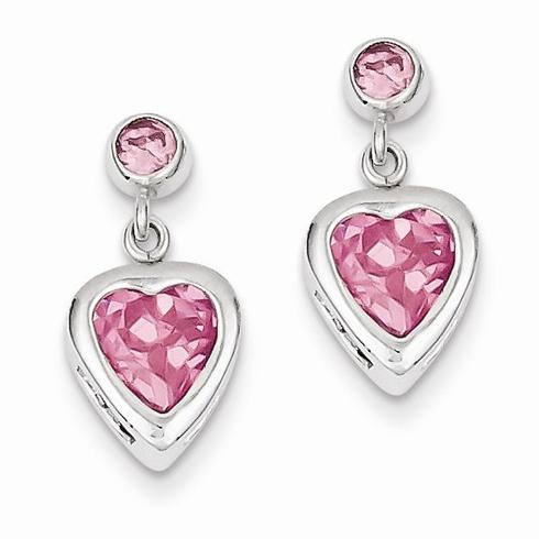 Sterling Silver Pink Heart CZ Dangle Earrings